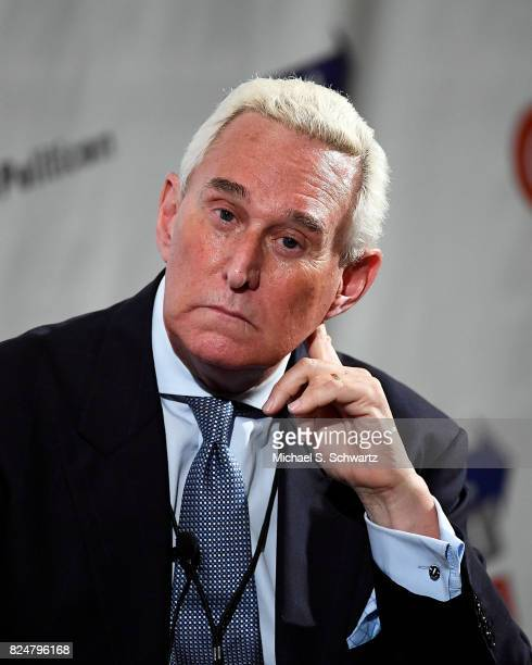 Roger Stone at the 'Roger Stone Holds Court' panel during Politicon at Pasadena Convention Center on July 30 2017 in Pasadena California