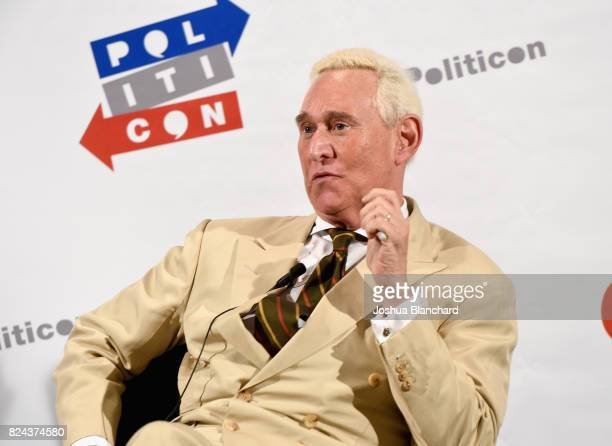 Roger Stone at 'Watergate The Long View' panel during Politicon at Pasadena Convention Center on July 29 2017 in Pasadena California