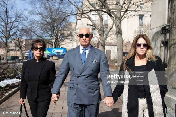 Roger Stone former adviser and long time associate of President Trump arrives at the E Barrett Prettyman US Courthouse on February 21 2019 in...