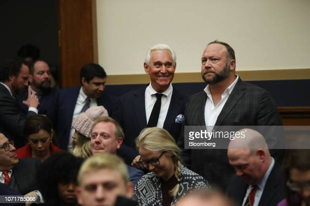 Roger Stone former adviser to Donald Trump's presidential campaign left and Alex Jones radio host and creator of the website InfoWars arrive before a...