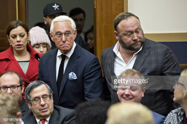 Roger Stone former adviser to Donald Trump's presidential campaign left and Alex Jones radio host and creator of the website InfoWars right arrive...