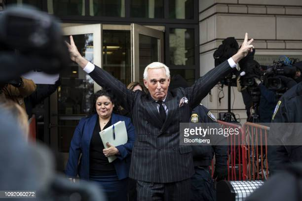 Roger Stone former adviser to Donald Trump's presidential campaign gestures while leaving federal court in Washington DC US on Friday Feb 1 2019...