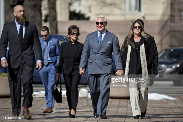 Roger Stone former adviser to Donald Trump's presidential campaign center arrives to federal court in Washington DC US on Thursday Feb 21 2019 On...