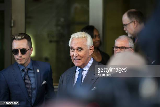 Roger Stone former adviser to Donald Trump's presidential campaign exits from federal court in Washington DC US on Thursday Feb 21 2019 Judge Amy...