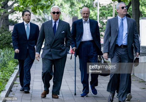 Roger Stone former adviser to Donald Trump's presidential campaign second left arrives at federal court in Washington DC US on Tuesday April 30 2019...