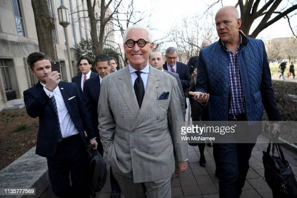 Roger Stone former adviser to US President Donald Trump departs the E Barrett Prettyman United States Court House on March 14 2019 in Washington DC...