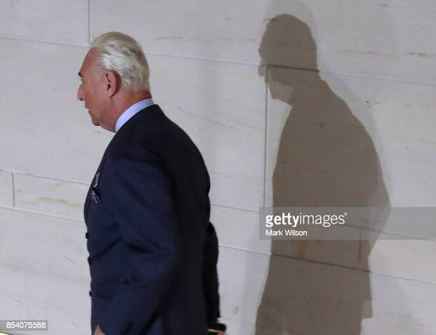 Roger Stone former advisor to President Trump arrives to appear before the House Intelligence Committee September 26 2017 in Washington DC The...