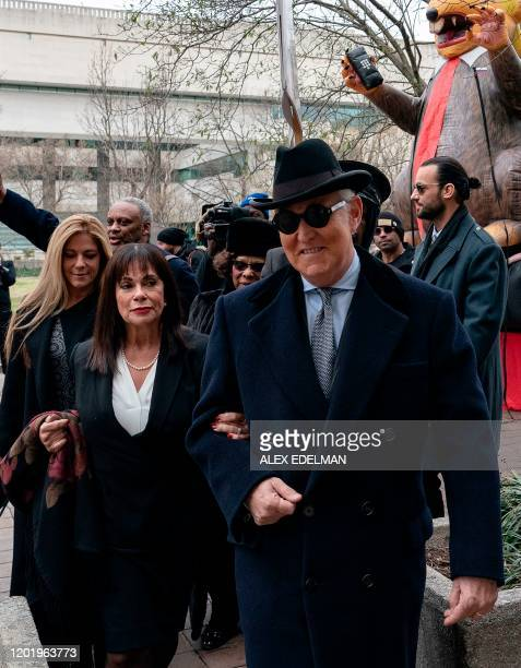 Roger Stone former advisor to US President Donald Trump arrives with family members at court prior to his sentencing hearing on February 20 2020 in...