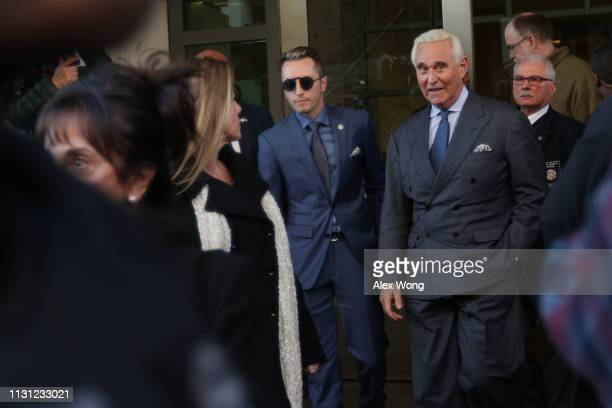Roger Stone former campaign adviser to US President Donald Trump leaves a US district courthouse after a show cause hearing February 21 2019 in...