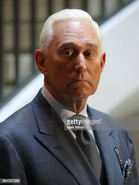 Roger Stone former confidant to President Trump speaks to the media after appearing before the House Intelligence Committee during a closed door...