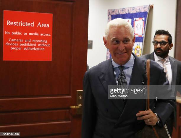 Roger Stone former confidant to President Trump walks out of the House Intelligence Committee closed door hearing September 26 2017 in Washington DC...