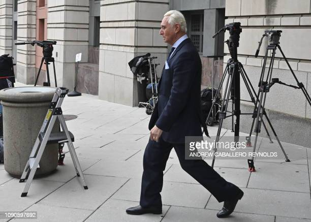 Roger Stone leaves after his arraignment as part of the Robert Mueller probe at the US District courthouse in Washington DC on January 29 2019...