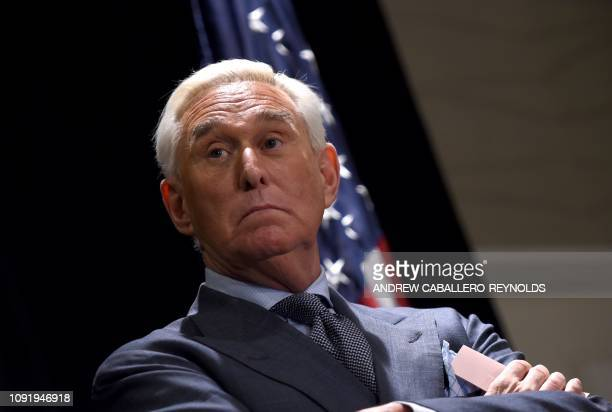 Roger Stone longtime friend and confidant of US President Donald Trump speaks to the press in Washington DC on January 31 2019 Stone pleaded not...