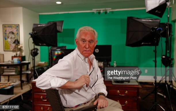 Roger Stone poses in his office which also doubles as a web and audiocast area in Oakland Park Florida on April 12 2017