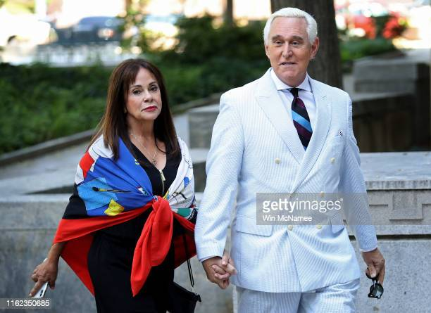 Roger Stone the former adviser to US President Donald Trump arrives at the E Barrett Prettyman United States Court House with his wife Nydia Stone on...