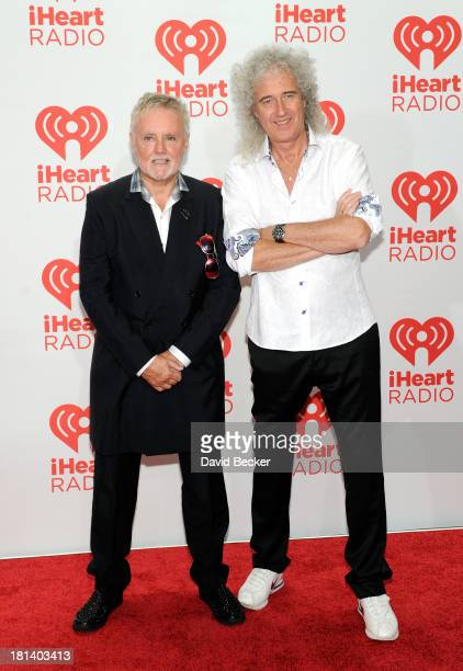 Roger Taylor and Brian May of Queen attend the iHeartRadio Music Festival at the MGM Grand Garden Arena on September 20 2013 in Las Vegas Nevada