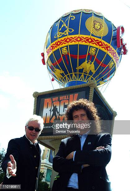 """Roger Taylor and Brian May of Queen during Brian May and Roger Taylor of Queen Announce the New Musical """"We Will Rock You"""" Opening August 2004 at The..."""
