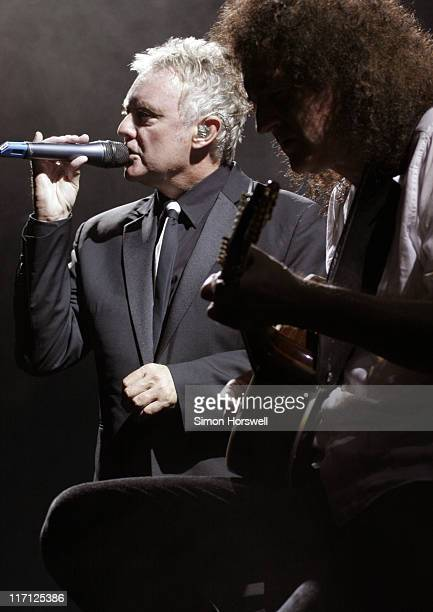 Roger Taylor and Brian May of Queen during We Will Rock You Charity Performance to Celebrate Freddie Murcury's 60th Birthday at The Dominion Theatre...