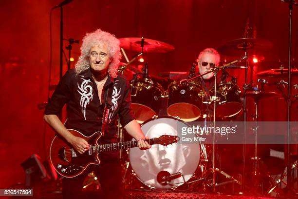 Roger Taylor and Brian May perform in concert with Queen at the American Airlines Center on August 4 2017 in Dallas Texas