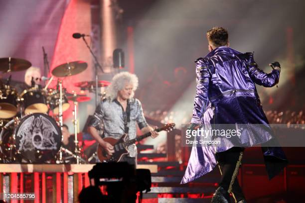 Roger Taylor Brian May and Adam Lambert perform at Mt Smart Stadium on February 07 2020 in Auckland New Zealand
