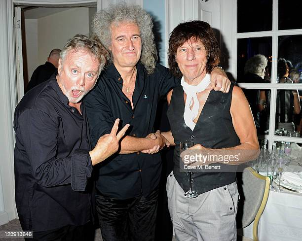 Roger Taylor Brian May and Jeff Beck attend Freddie For A Day celebrating Freddie Mercury's 65th birthday in aid of The Mercury Pheonix Trust at The...