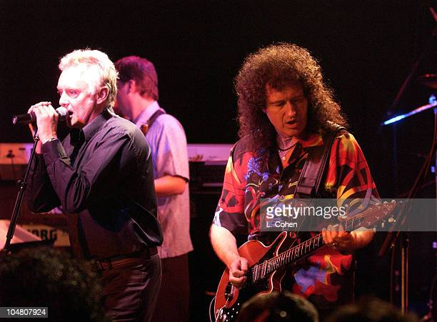 Roger Taylor Brian May of the legendary band Queen as they make a rare concert appearance in Hollywood after they received a star on the Hollywood...