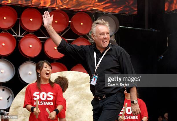 Roger Taylor drummer of of rock band Queen performs on stage during the Live Earth London concert at Wembley Stadium on July 7 2007 in London England...