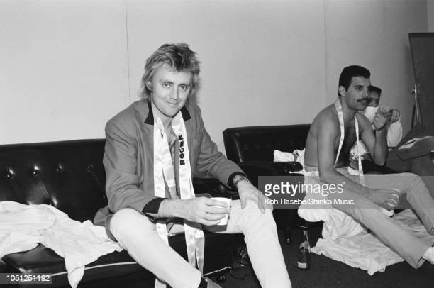 Roger Taylor Freddie Mercury of Queen backstage at the Hankyu Nishinomiya Stadium after a show on the Hot Space Japan tour Nishinomiya Japan 24...