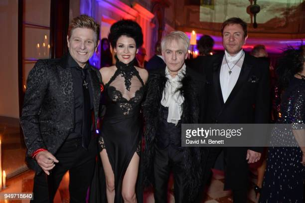 Roger Taylor Nefer Suvio Nick Rhodes and Simon Le Bon attend a party to celebrate Nefer Suvio's birthday hosted by The Count and Countess Francesco...