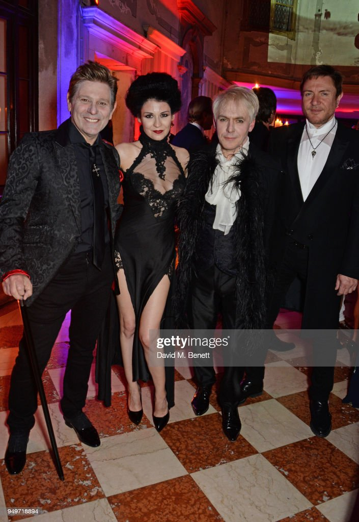 Roger Taylor, Nefer Suvio, Nick Rhodes and Simon Le Bon attend a party to celebrate Nefer Suvio's birthday hosted by The Count and Countess Francesco & Chiara Dona Dalle Rose at Palazzo Dona dalle Rose on April 20, 2018 in Venice, Italy.