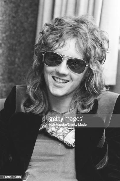 Roger Taylor of Queen being interviewed at the band's office in London for Japanese music magazine 'Music Life' 13th June 1974