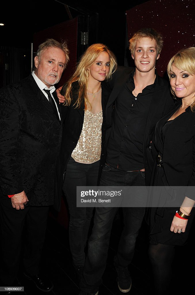 Roger Taylor of Queen, Rory Eleanor Taylor, Rufus Taylor and Sarina Potgieter attend the afterparty following The Prince's Trust Rock Gala 2010 supported by Novae at The Baglioni Hotel on November 17, 2010 in London, England.
