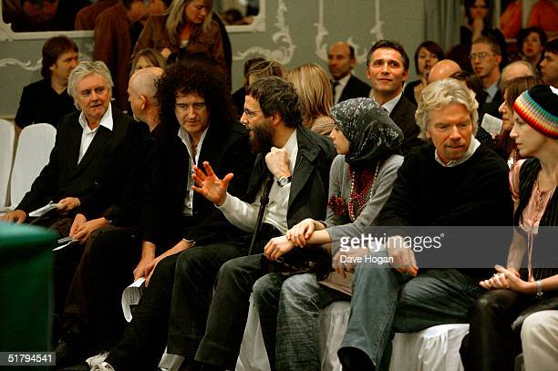Roger Taylor Peter Gabriel Brian May Yusuf Islam Yusuf's wife Fawzia Ali Sir Richard Branson and Annie Lennox attend VIP reception launching the...