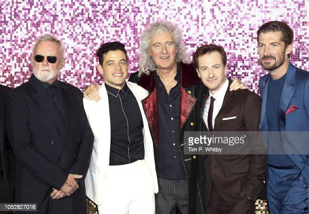 Roger Taylor Rami Malek Brian May Joe Mazzello and Gwilym Lee attend the World Premiere of 'Bohemian Rhapsody' at The SSE Arena Wembley on October 23...