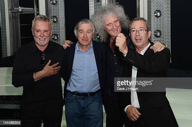 Roger Taylor, Robert De Niro, Brian May and Ben Elton attend the curtain call at the We Will Rock You 10 year anniversary at The Dominion Theatre on...