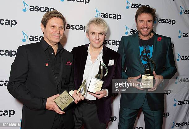 Roger Taylor Simon Le Bon and Nick Rhodes of Duran Duran win the Golden Note Award at the ASCAP Awards at one Embankment on November 10 2016 in...
