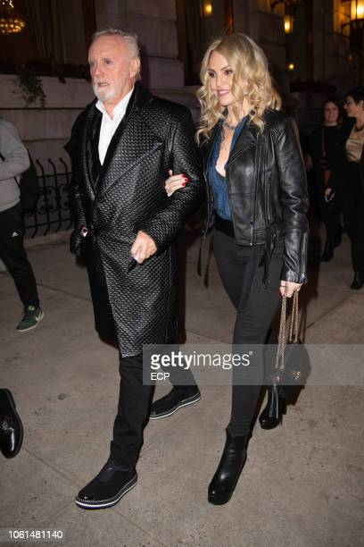 Roger Taylor with wife Sarina Potgieter arriving at Bohemian Rhapsody premiere on October 30 2018 in New York City