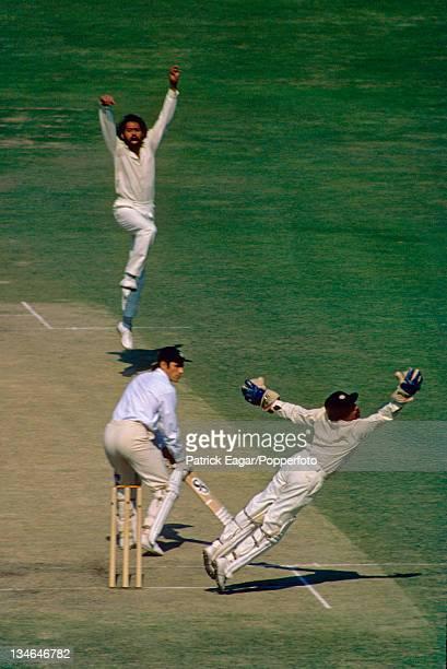Roger Tolchard edges a ball from Bhagwath Chandrasekhar past Syed Kirmani, India v England, 2nd Test, Calcutta, Jan 1976-77.