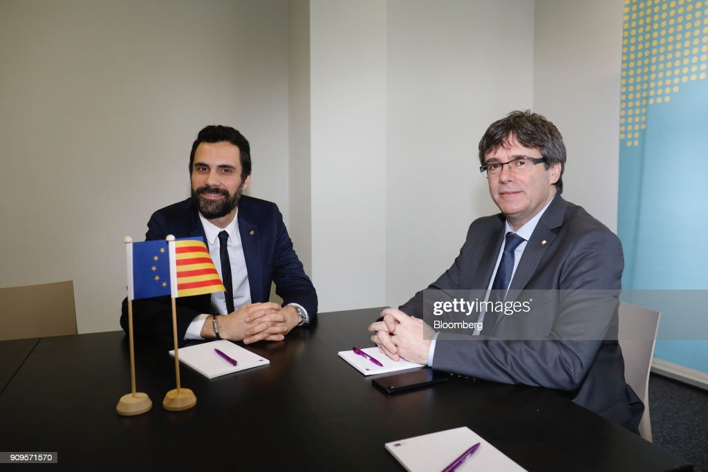 Catalan President Roger Torrent Meets Former Catalan President Carles Puigdemont