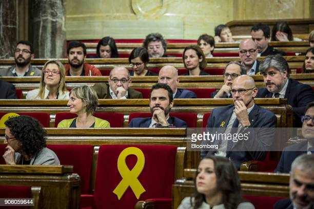 Roger Torrent lawmaker with Esquerra Republicana de Catalunya center pauses before being invested as the new president of the Catalan parliament in...