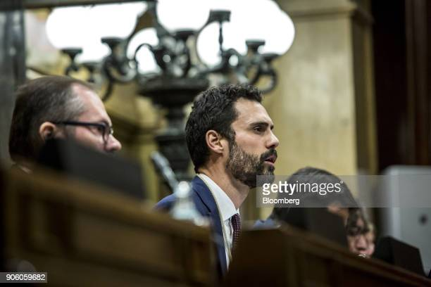 Roger Torrent lawmaker with Esquerra Republicana de Catalunya center speaks to lawmakers after being invested as the new president of the Catalan...