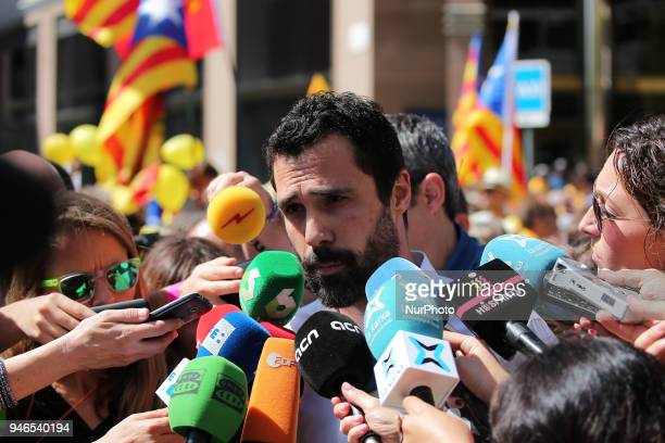 Roger Torrent the president of the Parliament of Catalonia during the demonstration in favor of democracy and the freedom of political prisoners on...