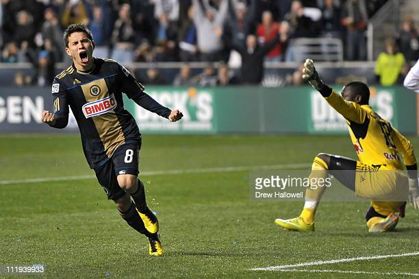 Roger Torres of the Philadelphia Union celebrates his game winning goal past goalkeeper Bouna Coundoul of the New York Red Bulls at PPL Park on April...