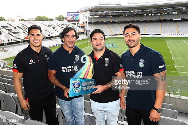 Roger TuivasaScheck Johnathan Thurston Issac Luke and Shaun Johnson pose with the NRL Nines trophy during the 2017 Auckland Nines Launch at Eden Park...