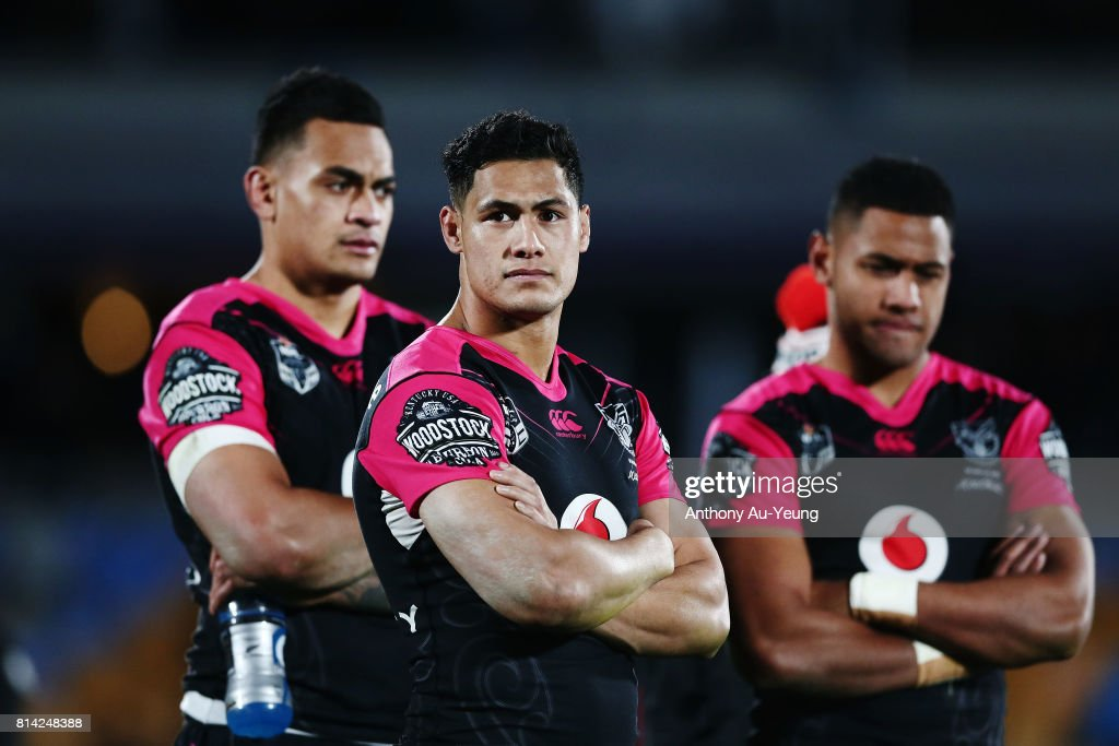 Roger Tuivasa-Sheck, Ken Maumalo and David Fusitu'a of the Warriors look on after losing the round 19 NRL match between the New Zealand Warriors and the Penrith Panthers at Mt Smart Stadium on July 14, 2017 in Auckland, New Zealand.