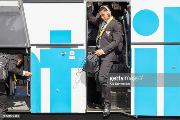 Roger TuivasaSheck of the Kiwis arrives for the 2017 Rugby League World Cup match between the New Zealand Kiwis and Scotland at AMI Stadium on...