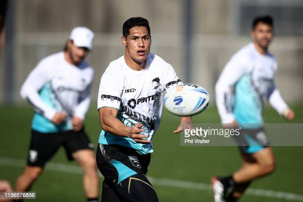 Roger Tuivasa-Sheck of the Kiwis passes during a New Zealand Kiwis Rugby League training session at Mt Smart Stadium on June 18, 2019 in Auckland,...