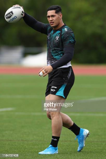 Roger Tuivasa-Sheck of the Kiwis warms up during a New Zealand Kiwis training session at The Trusts Stadium on November 01, 2019 in Auckland, New...