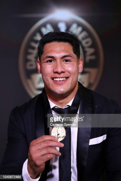 Roger TuivasaSheck of the New Zealand Warriors poses on stage with the Dally M Award during the 2018 Dally M Awards at Overseas Passenger Terminal on...