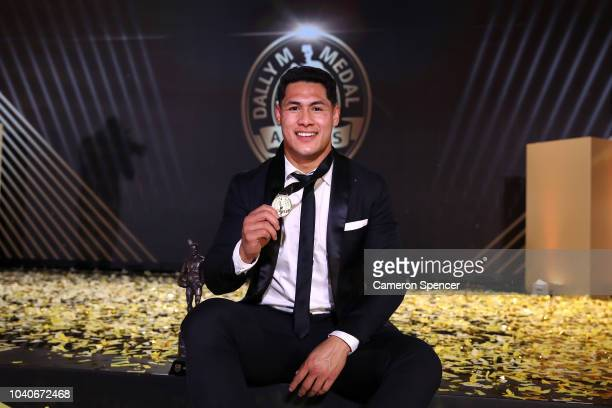 Roger Tuivasa-Sheck of the New Zealand Warriors poses on stage with the Dally M Award during the 2018 Dally M Awards at Overseas Passenger Terminal...
